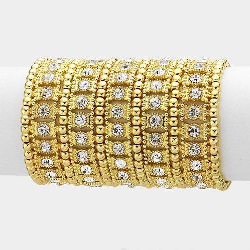 Wide Crystal Gold Metal Stretch Bracelet