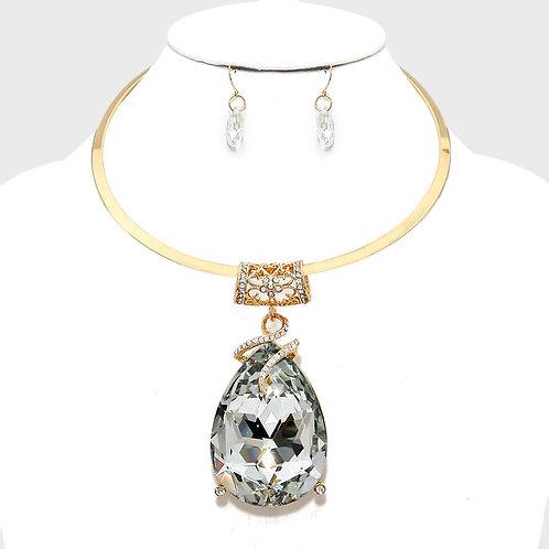 Clear Diamond Teardrop Necklace