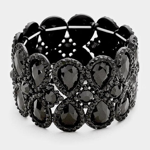 Black Double Teardrop Bracelet