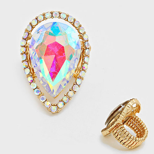 Rainbow Crystal Tear Drop Ring