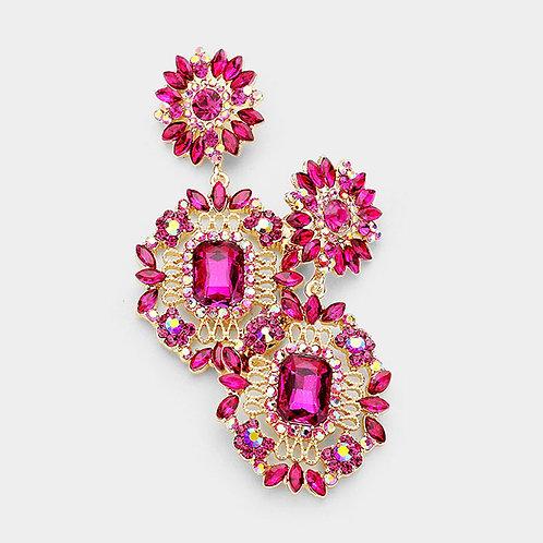 Fuchsia Daisy Drop Earrings