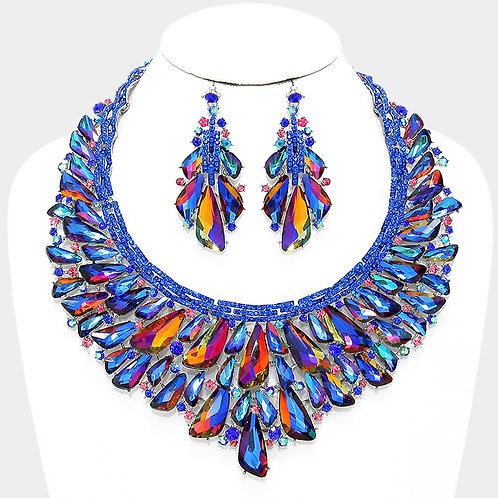 Royal Blue Cluster Necklace