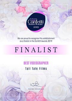 Confetti Awards 2019 Finalist Certificate