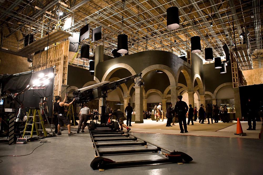 Movie set with film crew