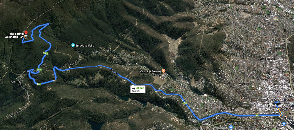 Directions from Hobart to The Springs on Mt Wellington