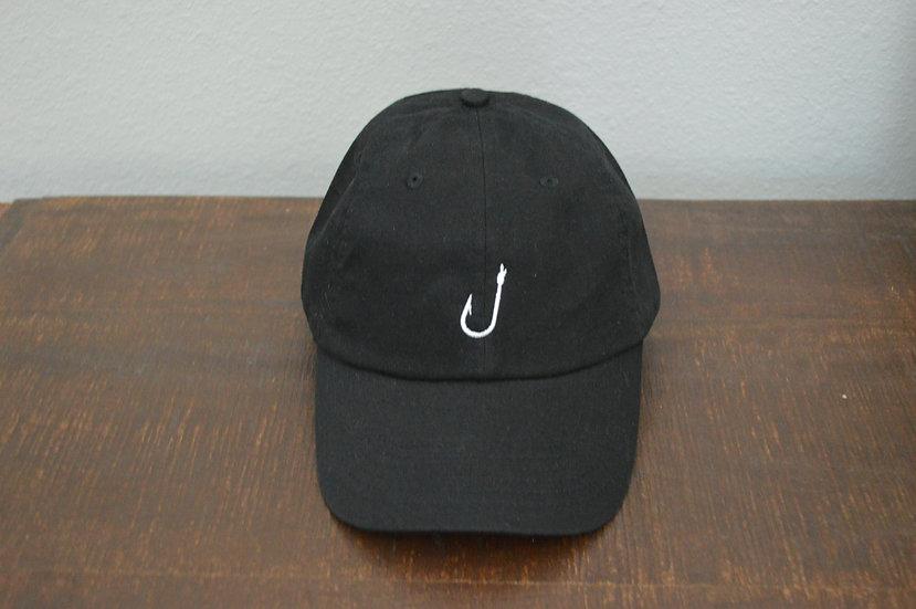 Black w/ White Hook Logo Buckle Back Hat