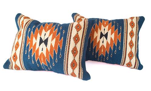 Blue Pillowcase with Orange Zapotec Diamond