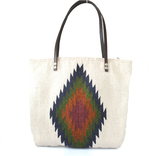 White Bag With Zapotec Diamond