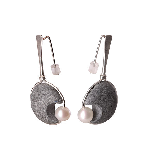 Hand-made Basalt Earrings with Pearls