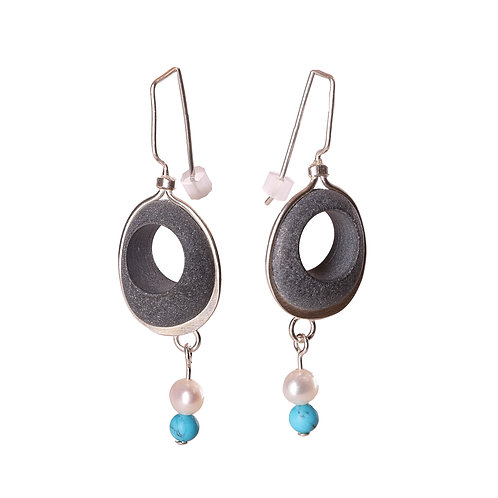 Sterling Silver, Basalt, Pearl and Turquoise Earrings