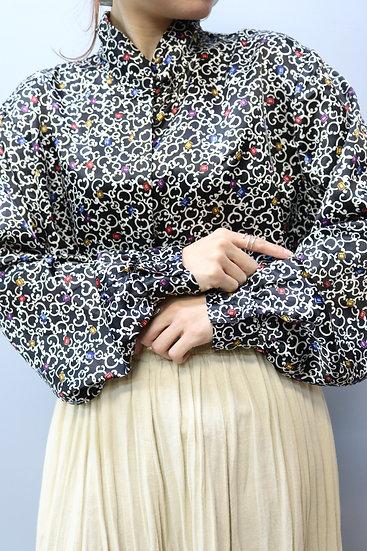 design blouse / black multi