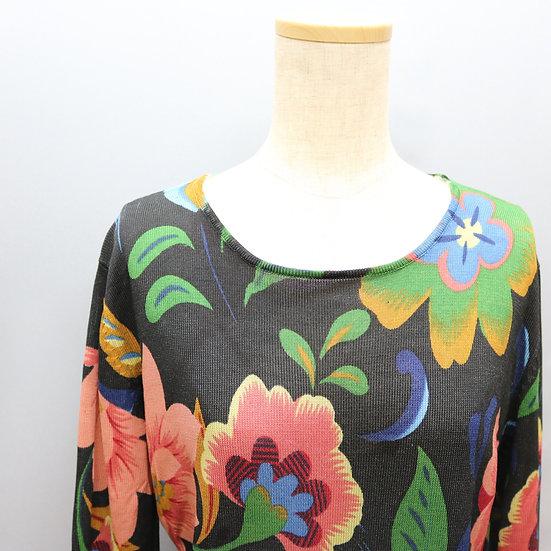 print design silk tops / deep flower