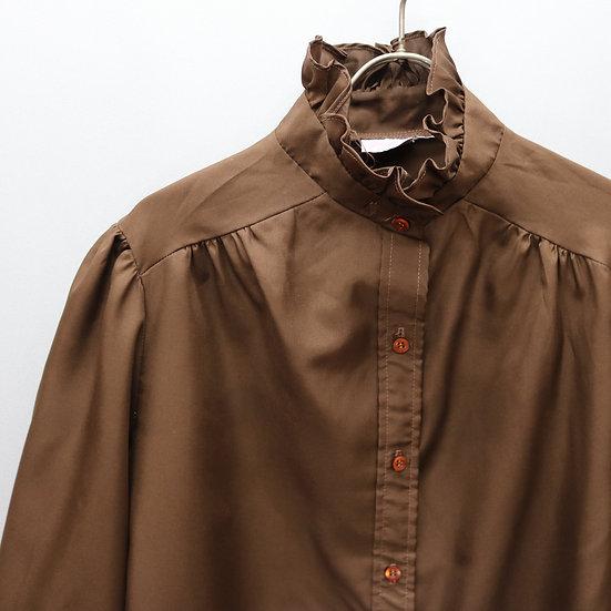 ruffle design blouse / BRN