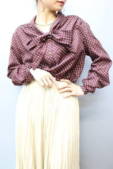 round collar design blouse /wine