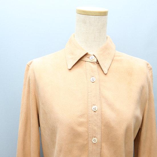 suede design blouse / beige