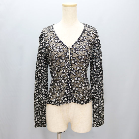 lace design blouse / black