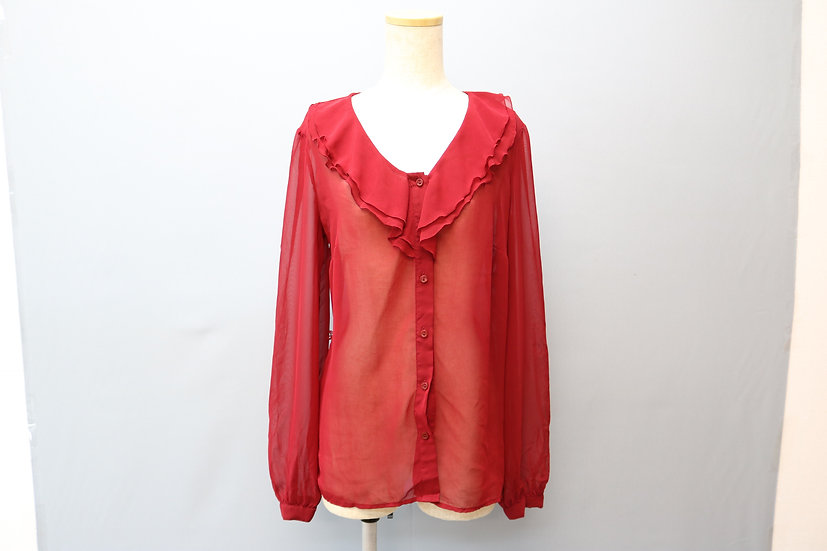 see-through design blouse / RED