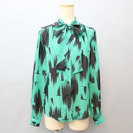 ribbon tie design blouse / green