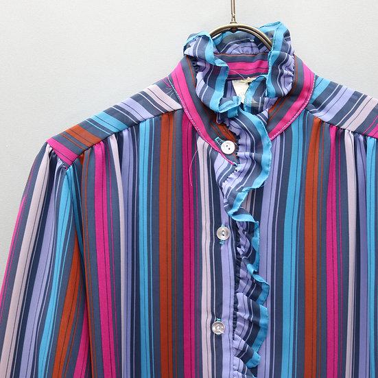 ruffle design blouse / stripe