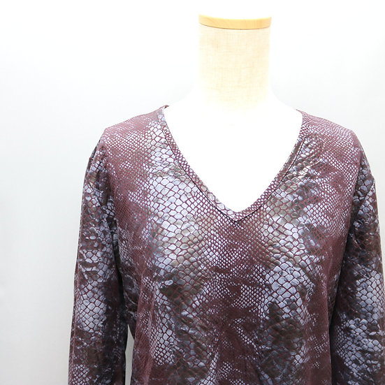 print design tops / dark purple