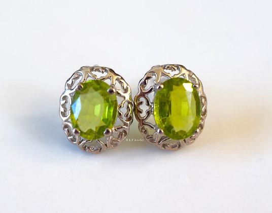 14K White Gold 3.20 Carat Oval Peridot Earrings