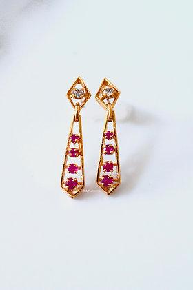 New Vintage Ruby and Diamond Earrings
