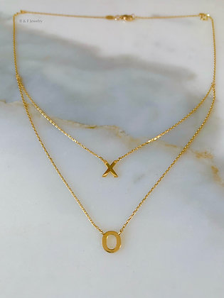 14K Gold X And O Layered Necklace