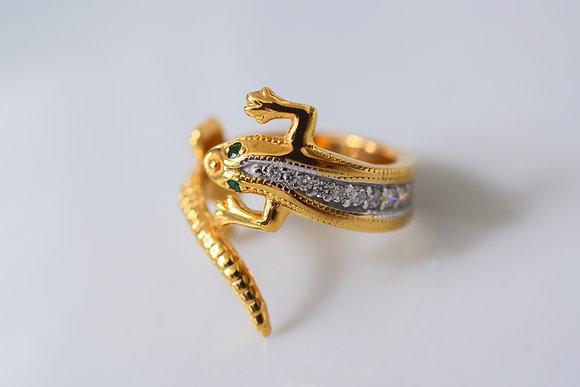 Diamond And Tsavorite Lizard Wrap Around Ring- Has Matching Earrings