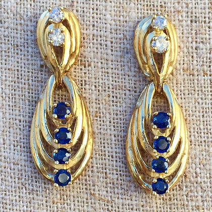New Vintage Sapphire And Diamond Earrings- Or Ruby