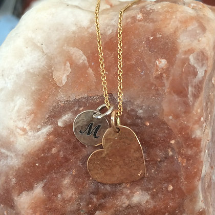 Initial 14K Rose and White Gold Heart Necklace