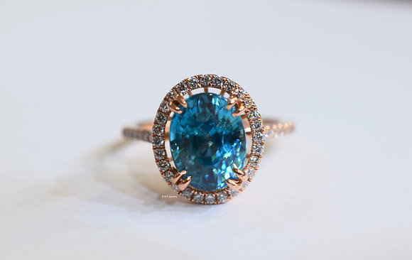 14K Rose Gold Oval Blue Zircon And Diamond Ring