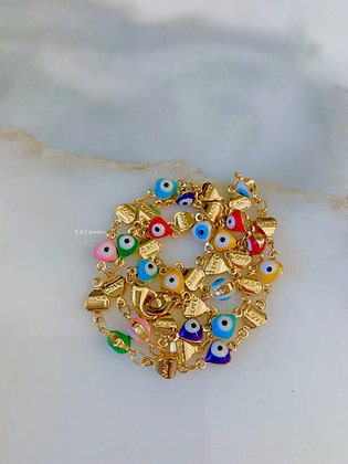 Gold Dipped Multi-Color Heart Design Evil Eye Necklace