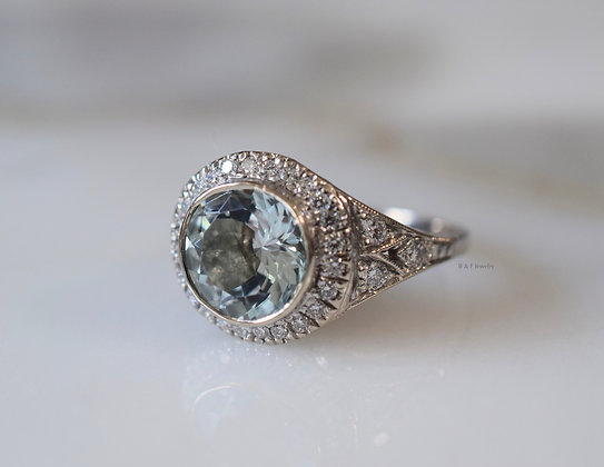 Art Deco Style 14K White Gold Aquamarine And Diamond Ring