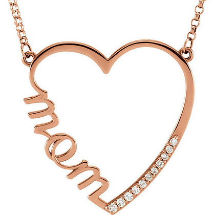 Any Color 14K Gold Diamond Heart Mom Necklace