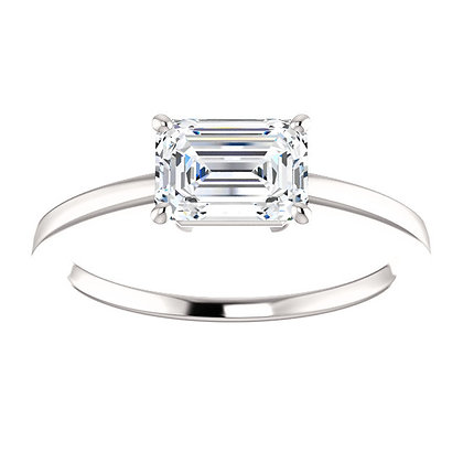 Any Color 14K Gold Horizontally Set Emerald Cut White Sapphire Engagement Ring
