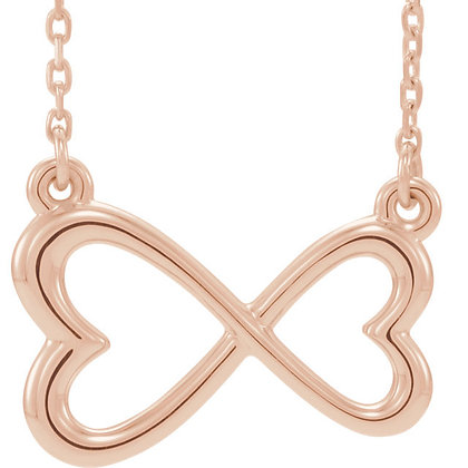 Any Color 14K Rose Infinity-Inspired Heart Necklac