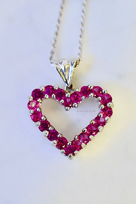 2.35 Carat Pink Topaz Heart Necklace