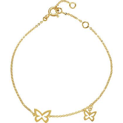 14K Gold Butterfly Bracelet