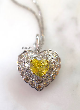 Yellow Sapphire And Diamond Heart Necklace