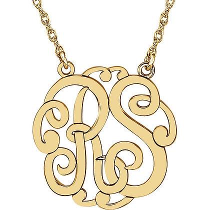 Any Color 14K Gold 2-Letter Script Monogram Necklace