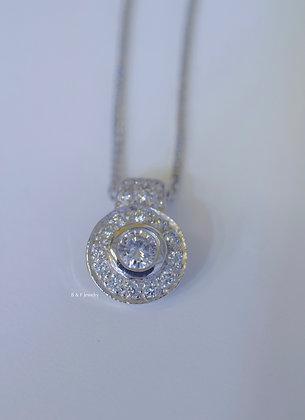 14K White Gold Halo Round Diamond Pendant On Chain