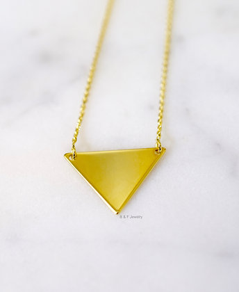 14K Yellow Gold Triangle Necklace: Engraving & Stone Adage Available