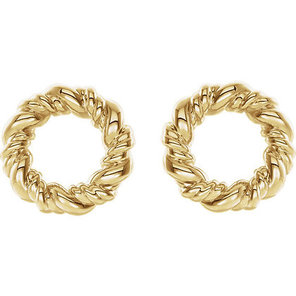 Any Color 14K Gold Circle Rope Earrings