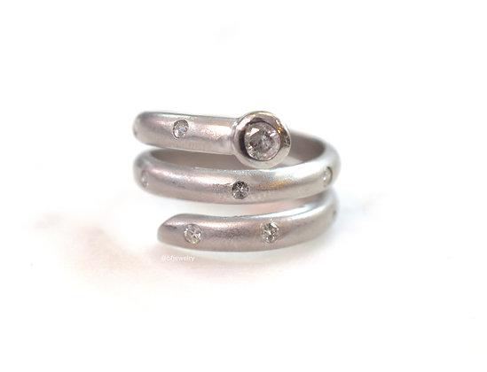 Matte 14K White Gold Diamond Ring