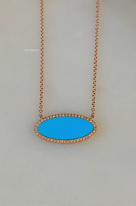 14K Rose Gold Oval Turquoise And Diamond Necklace