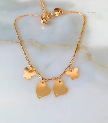 Heart And Butterfly Anklet