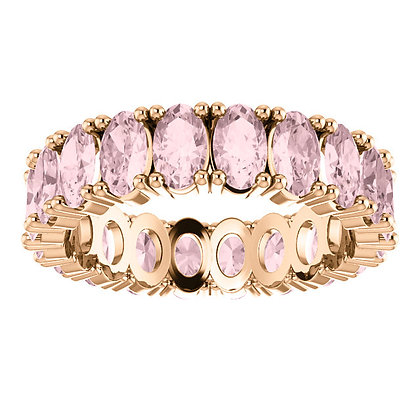 Any Color 14K Gold Oval Morganite Eternity Band