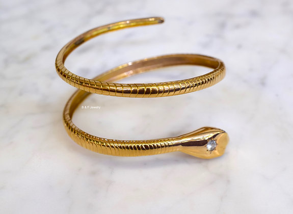 Vintage 18K Rose Gold White And Blue Sapphire Snake Bangle