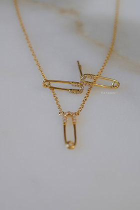 14K Yellow Gold Diamond Safety Pin Earrings And/Or Necklace