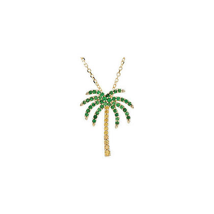 14K Gold Tsavorite & Yellow Sapphire Palm Tree Necklace: Other Variations
